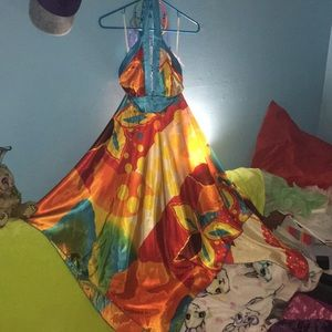 Exquisite Colorful Radiant Flowy Satin Dress Pixie